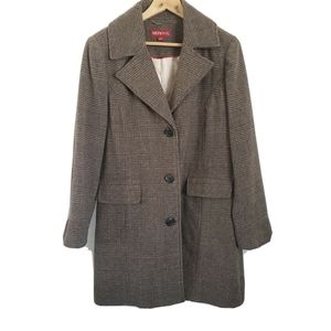 Merona brown plaid long coat w/ elbow patches wome